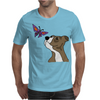 Awesome Funny Pitbull Puppy and Butterfly Mens T-Shirt