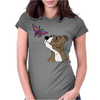 Awesome Funny Pitbull Puppy and Butterfly Womens Fitted T-Shirt