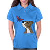 Awesome Funny Pitbull Puppy and Butterfly Womens Polo