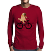 Awesome Funny Pug Puppy Dog Riding Bicycle Mens Long Sleeve T-Shirt