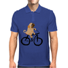 Awesome Funny Pug Puppy Dog Riding Bicycle Mens Polo
