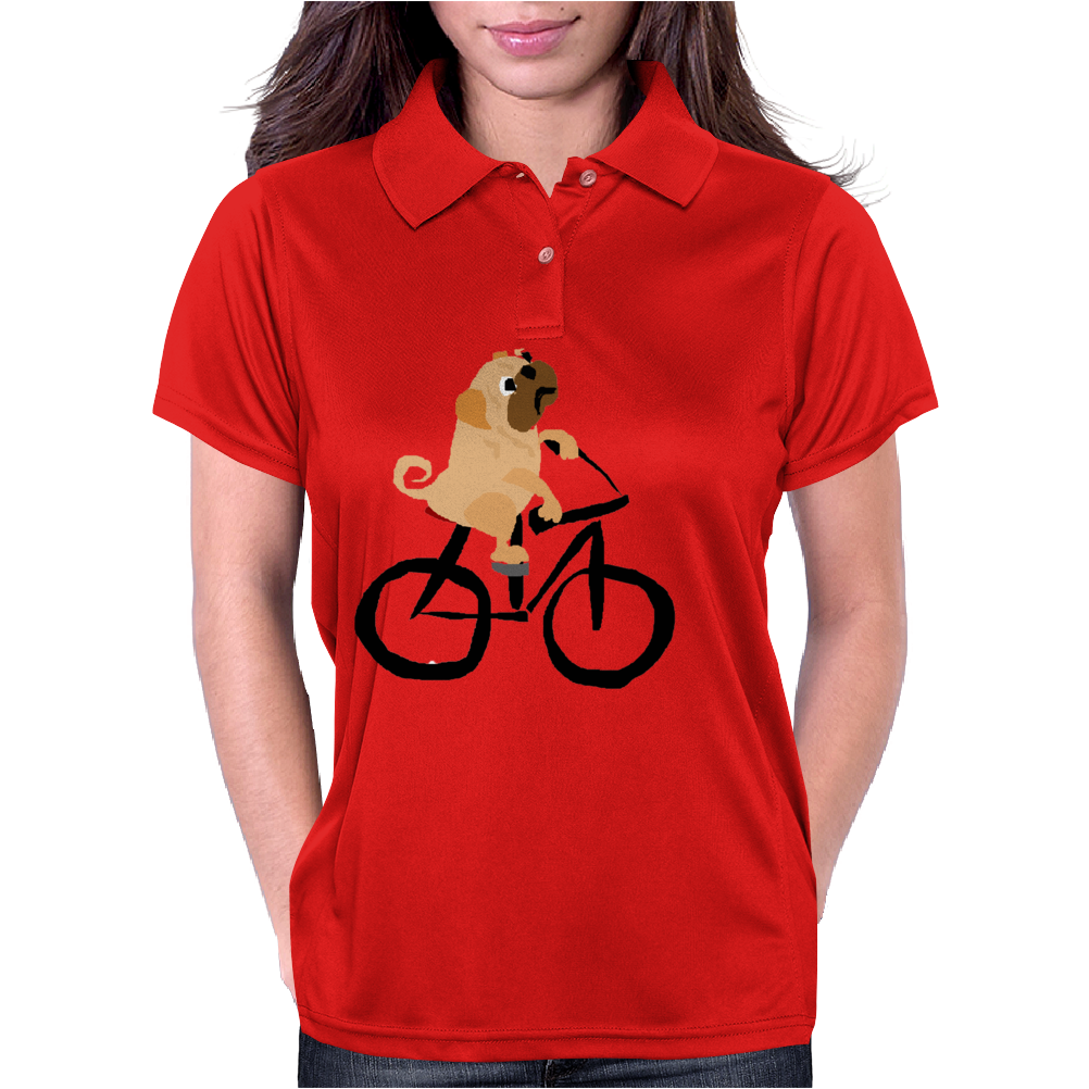 Awesome Funny Pug Puppy Dog Riding Bicycle Womens Polo