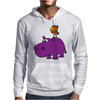Awesome Funny Purple Hippo with Parrot Bird Art Mens Hoodie