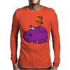 Awesome Funny Purple Hippo with Parrot Bird Art Mens Long Sleeve T-Shirt