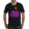 Awesome Funny Purple Hippo with Parrot Bird Art Mens T-Shirt