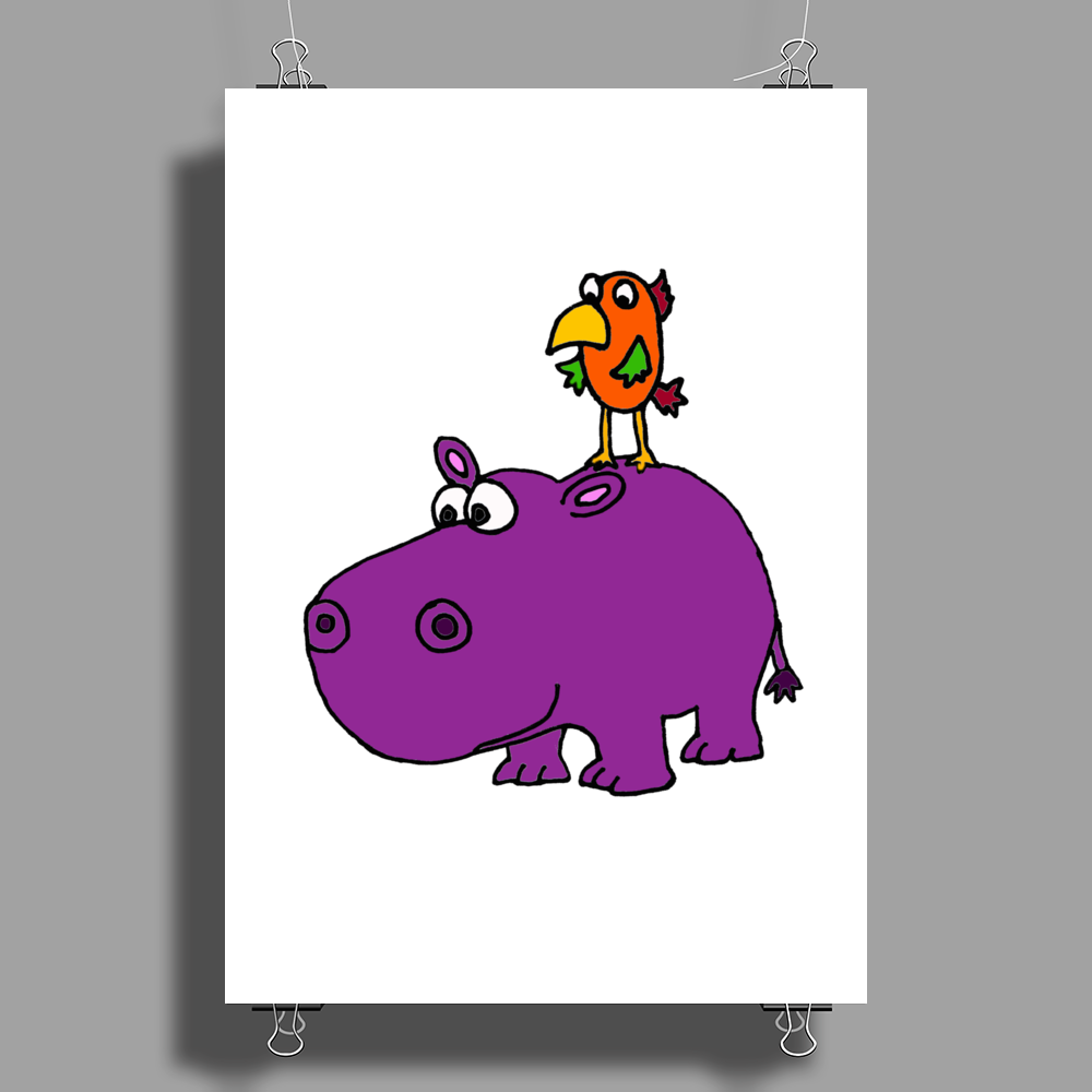 Awesome Funny Purple Hippo with Parrot Bird Art Poster Print (Portrait)