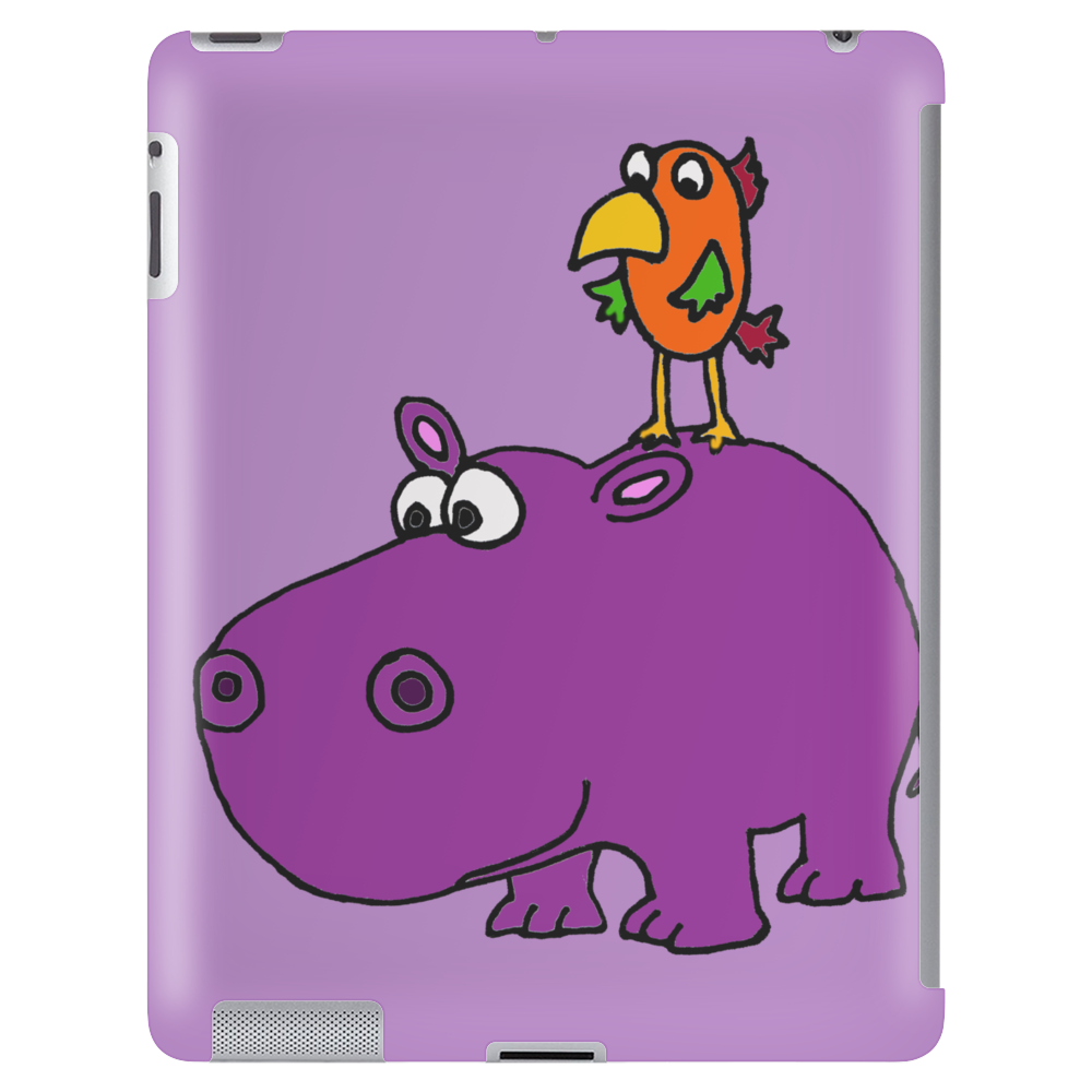 Awesome Funny Purple Hippo with Parrot Bird Art Tablet