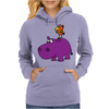 Awesome Funny Purple Hippo with Parrot Bird Art Womens Hoodie