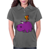Awesome Funny Purple Hippo with Parrot Bird Art Womens Polo