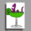 Awesome Funny Purple Loch Nes Monster in Margarita Poster Print (Portrait)