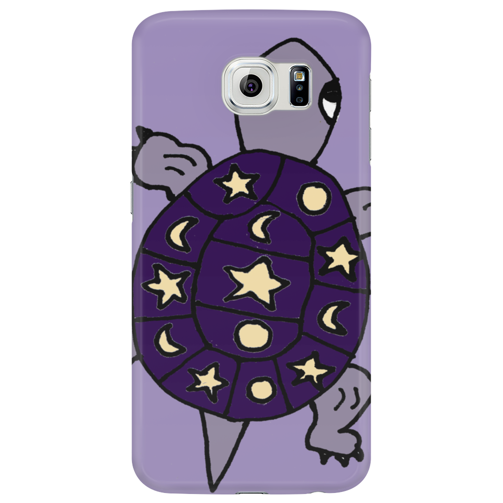 Awesome Funny Purple Turtle with Stars and Moon Art Phone Case