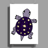 Awesome Funny Purple Turtle with Stars and Moon Art Poster Print (Portrait)