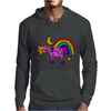 Awesome Funny Purple Unicorn and Rainbow Art Mens Hoodie