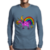 Awesome Funny Purple Unicorn and Rainbow Art Mens Long Sleeve T-Shirt