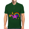 Awesome Funny Purple Unicorn and Rainbow Art Mens Polo
