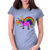 Awesome Funny Purple Unicorn and Rainbow Art Womens Fitted T-Shirt