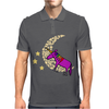 Awesome Funny Purple Unicorn Sleeping on Moon Mens Polo
