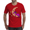 Awesome Funny Purple Unicorn Sleeping on Moon Mens T-Shirt