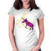 Awesome Funny Purple Unicorn Sleeping on Moon Womens Fitted T-Shirt
