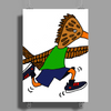 Awesome Funny Roadrunner Jogging Cartoon Poster Print (Portrait)