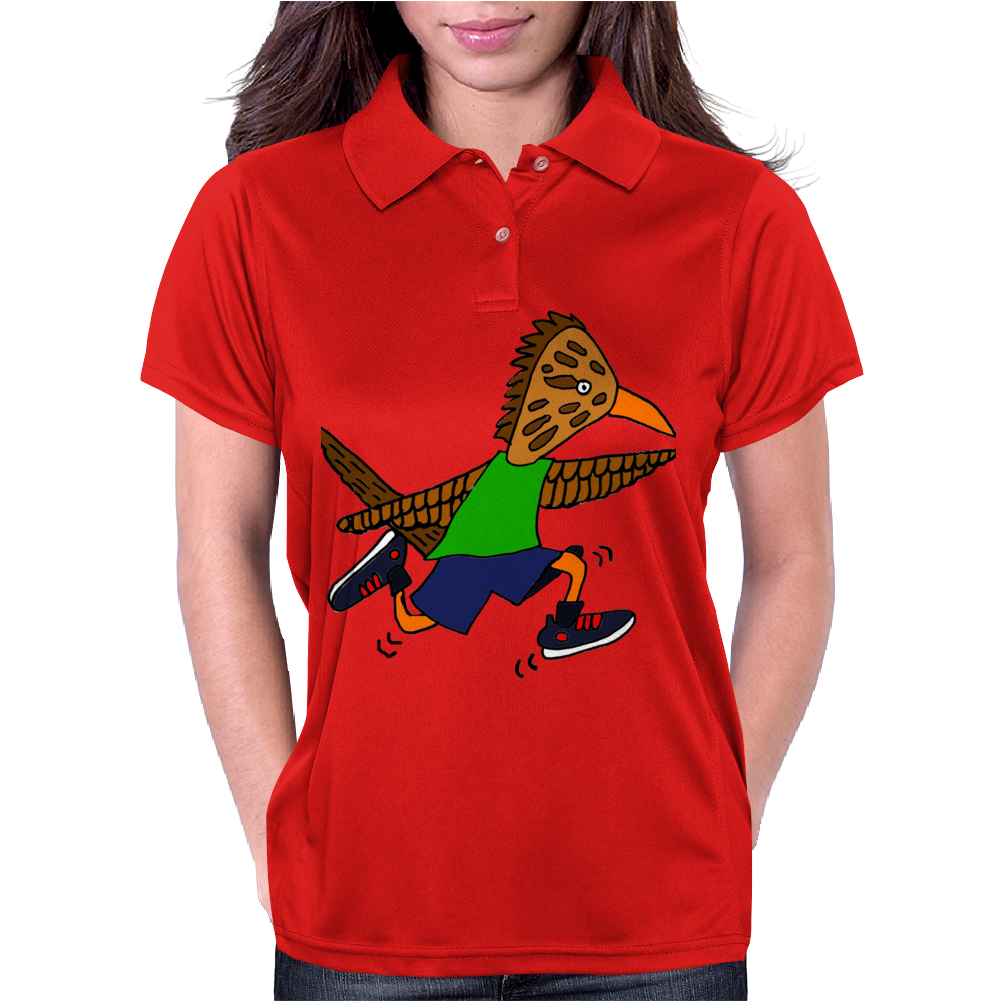 Awesome Funny Roadrunner Jogging Cartoon Womens Polo