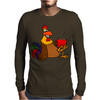 Awesome Funny Rooster Drinking Morning Coffee Mens Long Sleeve T-Shirt
