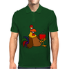 Awesome Funny Rooster Drinking Morning Coffee Mens Polo