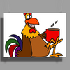 Awesome Funny Rooster Drinking Morning Coffee Poster Print (Landscape)