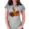 Awesome Funny Rooster Drinking Morning Coffee Womens Fitted T-Shirt