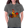 Awesome Funny Rooster Drinking Morning Coffee Womens Polo