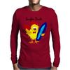 Awesome Funny Rooster Surfer Dude Cartoon Mens Long Sleeve T-Shirt