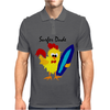 Awesome Funny Rooster Surfer Dude Cartoon Mens Polo