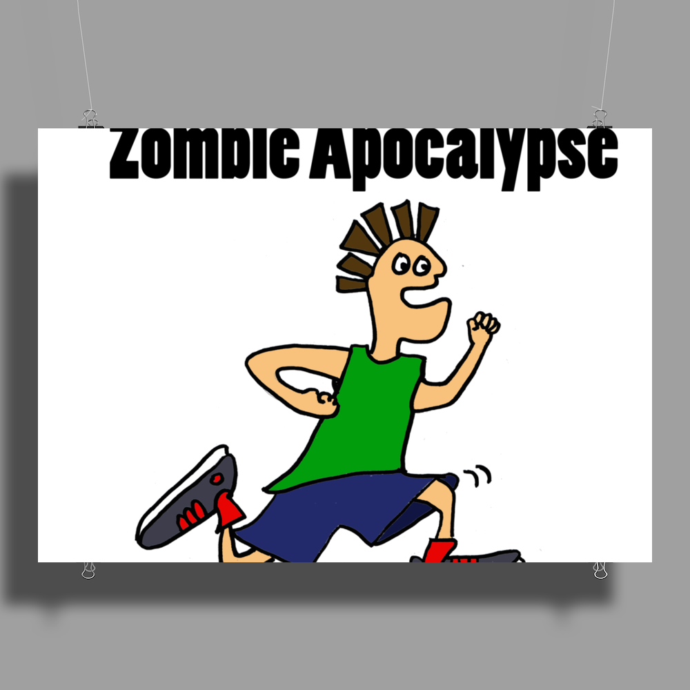 Awesome Funny Running Dude Cartoon Poster Print (Landscape)