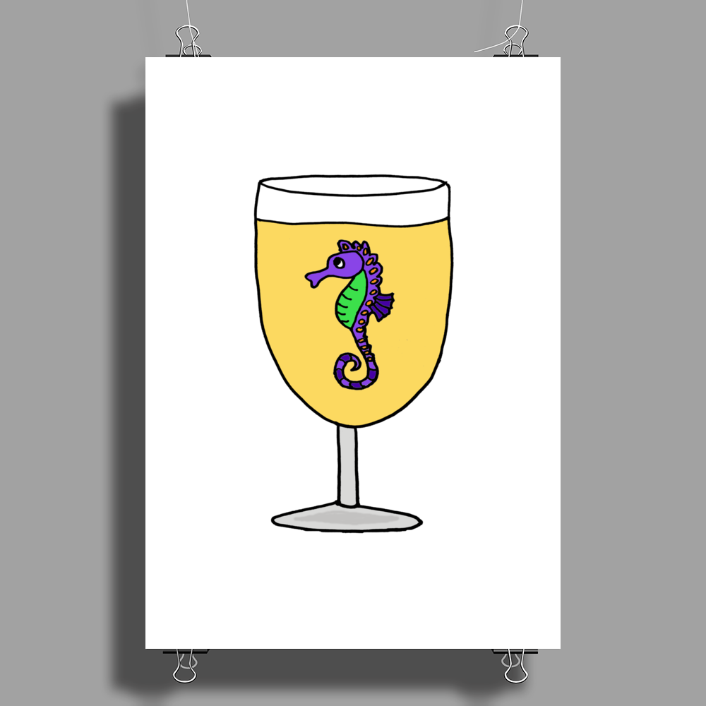 Awesome Funny Sea Horse in Wine Glass Poster Print (Portrait)