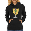 Awesome Funny Sea Horse in Wine Glass Womens Hoodie