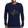 Awesome Funny Sea Otter in Green Canoe Mens Long Sleeve T-Shirt