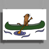 Awesome Funny Sea Otter in Green Canoe Poster Print (Landscape)