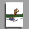 Awesome Funny Sea Otter in Green Canoe Poster Print (Portrait)