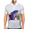 Awesome Funny Shark Drinking Beer Cartoon Mens Polo