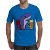 Awesome Funny Shark Drinking Beer Cartoon Mens T-Shirt