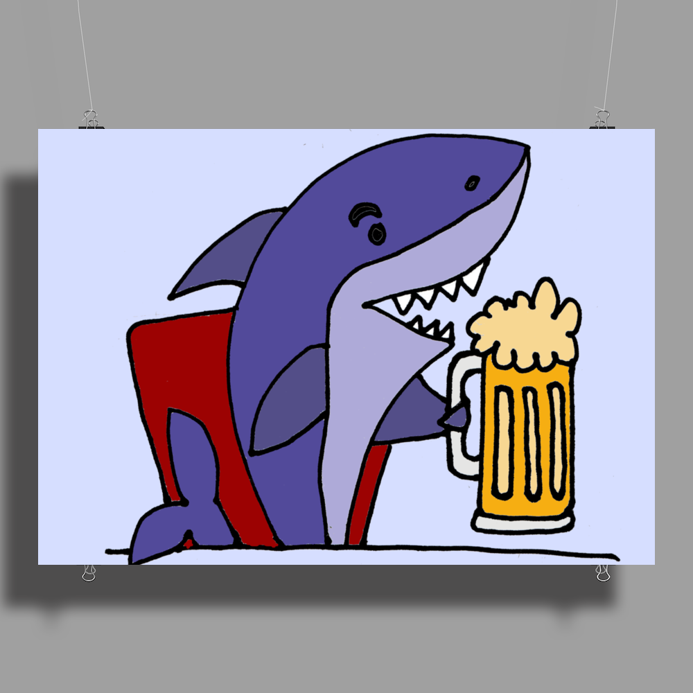 Awesome Funny Shark Drinking Beer Cartoon Poster Print (Landscape)