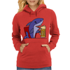 Awesome Funny Shark Drinking Beer Cartoon Womens Hoodie