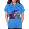 Awesome Funny Shark Drinking Beer Cartoon Womens Polo