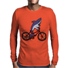 Awesome Funny Shark Riding Bicycle Mens Long Sleeve T-Shirt