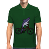 Awesome Funny Shark Riding Bicycle Mens Polo