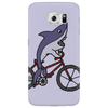 Awesome Funny Shark Riding Bicycle Phone Case