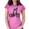 Awesome Funny Shark Riding Bicycle Womens Fitted T-Shirt