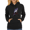 Awesome Funny Shark Riding Bicycle Womens Hoodie