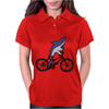 Awesome Funny Shark Riding Bicycle Womens Polo