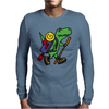 Awesome Funny T-Rex Dinosaur is Hiking Mens Long Sleeve T-Shirt